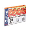 Oxford Laminated Tab Index Card Guides, Daily, 1/5 Tab, Manila, 5 x 8, 31/Set