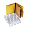 Pressguard Classification Folders, Letter, Six-Section, Yellow, 10/Box