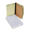 Pressboard Classification Folders, Legal, Four-Section, Light Green, 10/Box
