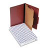 Pressboard Classification Folders, Legal, Four-Section, Red, 10/Box