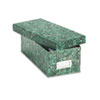 Reinforced Board Card File, Lift-Off Lid, Holds 1,200 3 x 5 Cards, Green Marble
