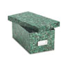 Reinforced Board Card File, Lift-Off Lid, Holds 1,200 4 x 6 Cards, Green Marble