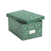 Card File, Lift-Off Lid, Holds 1,200 5 x 8 Cards, Green Marble Paper Board