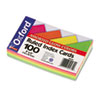 Oxford Ruled Index Cards, 3 x 5, Glow Green/Yellow, Orange/Pink, 100/Pack