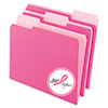 Pendaflex Interior File Folders, 1/3 Cut Top Tab, Letter, Pink, 100/Box