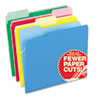 CutLess File Folders, 1/3 Cut Top Tab, Letter, Assorted, 100/Box