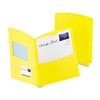 Contour Two-Pocket Recycled Paper Folder,  100-Sheet Capacity, Yellow