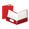 High Gloss Laminated Folder, 100-Sheet Capacity, Crimson, 25/Box