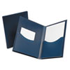 Oxford Double Stuff Gusseted 2-Pocket Polypropylene Folder, 200-Sheet Capacity, Navy