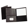 Twin-Pocket Portfolio, Embossed Leather Grain Paper, Black, 25/Box