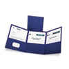 Tri-Fold Folder w/3 Pockets, Holds 150 Letter-Size Sheets, Blue