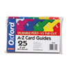 Card Guides, Alpha, 1/5 Tab, Polypropylene, 5 x 8, 25/Set