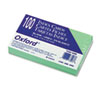 Oxford Unruled Index Cards, 3 x 5, Green, 100/Pack