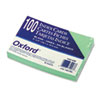 Oxford Unruled Index Cards, 4 x 6, Green, 100/Pack
