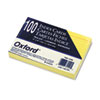 Oxford Ruled Index Cards, 4 x 6, Canary, 100/Pack