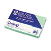 Oxford Unruled Index Cards, 5 x 8, Green, 100/Pack