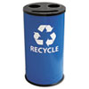 Ex-Cell Round Three-Compartment Recycling Container, Steel, 14 gal, Blue/Black