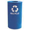 Ex-Cell Indoor/Outdoor Round Steel Recycling Receptacle, 33 gal, Blue