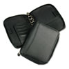 Spacemaker Leather Ring Bound Organizer w/Zipper, 5-1/2 x 8-1/2, Black