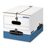 Storage Box, Legal/Letter, Tie Closure, White/Blue, 4/Carton