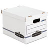 Stor/File Storage Box, Letter/Legal, Lift-off Lid, White/Blue, 4/Carton