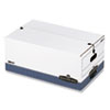 Stor/File Storage Box, Legal, String and Button, White/Blue, 4/Carton