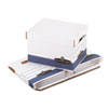 Quick/Stor Storage Box, Letter/Legal, Locking Lid, White/Blue, 4/Carton