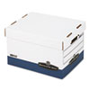 R-Kive Max Storage Box, Letter/Legal, Locking Lid, White/Blue, 4/Carton