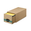 Super Stor/Drawer Steel Plus Storage Box, Legal, Kraft/Green, 6/Carton