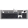 Slimline Antimicrobial Multimedia Keyboard, 122 Keys, Black/Silver