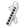 Fellowes Six-Outlet Metal Power Strip, 120V, 6ft Cord, 12 3/16 x 2 1/2 x 1 3/8, Platinum