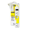 Fellowes Six-Outlet Plastic Power Strip, 120V, 6ft Cord, 1 x 8 x 1-3/4, Platinum