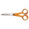 Home and Office Scissors, 7 in. Length, Orange Handle, Stainless Steel