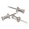 GEM Aluminum Head Push Pins, Aluminum, Silver, 1/2