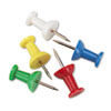 "Plastic Head Push Pins, Plastic, Assorted, 3/8"", 100/Box"