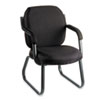 Commerce Series Guest Arm Chair, Sled Base, Asphalt Black Fabric