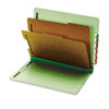 Pressboard End Tab Classification Folders, Six Sections, Letter, Green, 10/Box