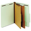 Pressboard Classification Folders, Six Fasteners, 2/5 Cut, Letter, Green, 10/Box