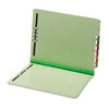 End Tab Folders, Two Fasteners, One Inch Expansion, Letter, Green, 25/Box