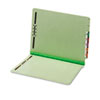 End Tab Folders, Two Fasteners, Two Inch Expansion, Letter, Green, 25/Box