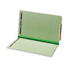 End Tab Folders, Two Fasteners, One Inch Expansion, Legal, Green, 25/Box