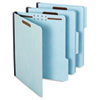 Folders, Two Inch Expansion, Two Fasteners, 1/3 Cut, Letter, Light Blue, 25/Box