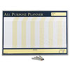 Wall Planner, Laminated, 32 x 21 1/2, Blue/White/Yellow, Aluminum Frame