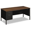 Metro Classic Left Pedestal Desk, 66w x 30d, Columbian Walnut/Black