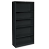 Metal Bookcase, 5 Shelves, 34-1/2w x 12-5/8w x 71h, Black