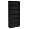 Metal Bookcase, 6 Shelves, 34-1/2w x 12-5/8d x 81-1/8h, Black