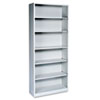 Metal Bookcase, 6 Shelves, 34-1/2w x 12-5/8d x 81-1/8h, Light Gray