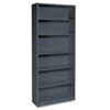 Metal Bookcase, 6 Shelves, 34-1/2w x 12-5/8d x 81-1/8h, Charcoal