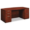 Arrive Bow Front Double Pedestal Veneer Desk, Henna Cherry, 72w x 36d x 29-1/2h