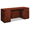 Arrive Double Pedestal Kneespace Credenza, 72w x 24d x 29-1/2h, Henna Cherry